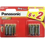 blister of 8 alkaline batteries panasonic lr03 de 1,5 v.