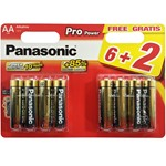 blister of 8 alkaline batteries panasonic lr6 de 1,5 v.