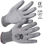 grey gloves of hppe and fiberglass and polyurethane coated palm mod. 401g2 dyn