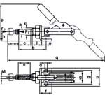 Quick clamp with axial displacement with angular foot. (The push bar and handle move simultaneously). Staple for compression and traction. With long guide of axial displacement thread of fixation and nut. Galvanized and passivated. Stainless steel rivets. They are inserted in the hardened sleeves by cementation. Lever and push rod of tempered steel. Oiled support points. Red handle, oil resistant. This fast clamp with axial displacement can be fixed in sheet metal walls or screwed in the body of the assembly with frontal threads.
