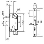 Mortise lock for sliding doors without cylinder.
