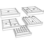 5 Drawer metal tool storage cabinet with steel drawers and trays.
