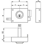 Deadbolt rim night door lock with latch and double output. Not reversible with fixed cylinder.
