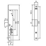 Mortice lock without cylinder for metalic doors with 35mm profile onwards. OPERATING: Lever with key is both sides.