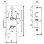 Mortise lock without cylinder, reversible latch and lever to 1 turn. FUNCTION: The lever with the key on both sides. The handle with the handle or key from both sides.
