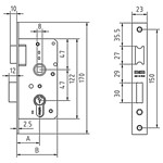 Mortise lock without cylinder, reversible latch and lever to 1 turn. FUNCTION: The lever with the key on both sides. The latch with the handle on both sides.