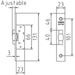 Mortice latch with adjustable roller for metal doors od 25mm profile onwards. FUNCTION: By pressure.