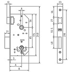 Mortise lock without cylinder, reversible latch and lever to 2 turns. FUNCTION: Lever with key in both sides .Latch with handle or key in both sides.